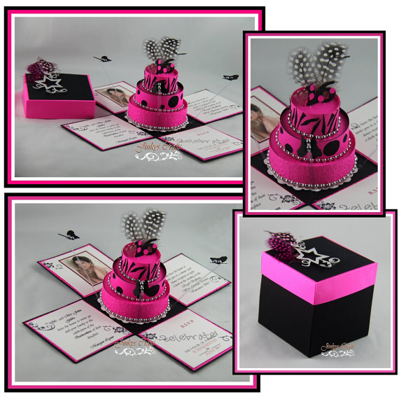 Hot Pink & Black 18th Birthday Exploding Box Invitations