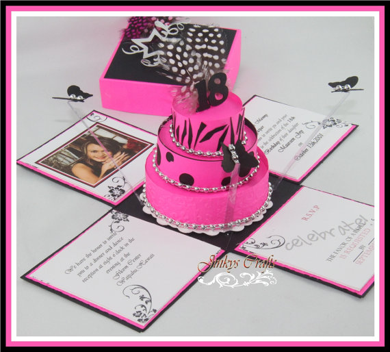 Hot Pink & Black Exploding Box Invitations