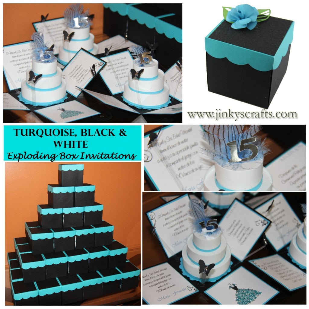 BLACK, TURQUOISE & WHITE QUINCEANERA INVITATIONS