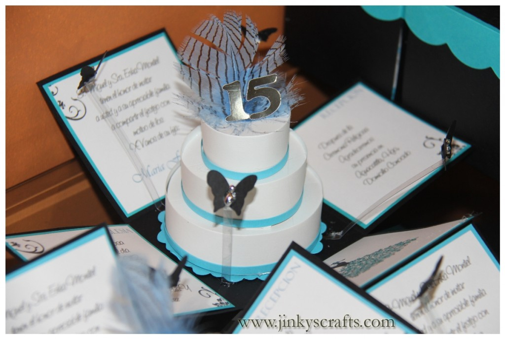 TURQUOISE, BLACK & WHITE 3-TIER CAKE