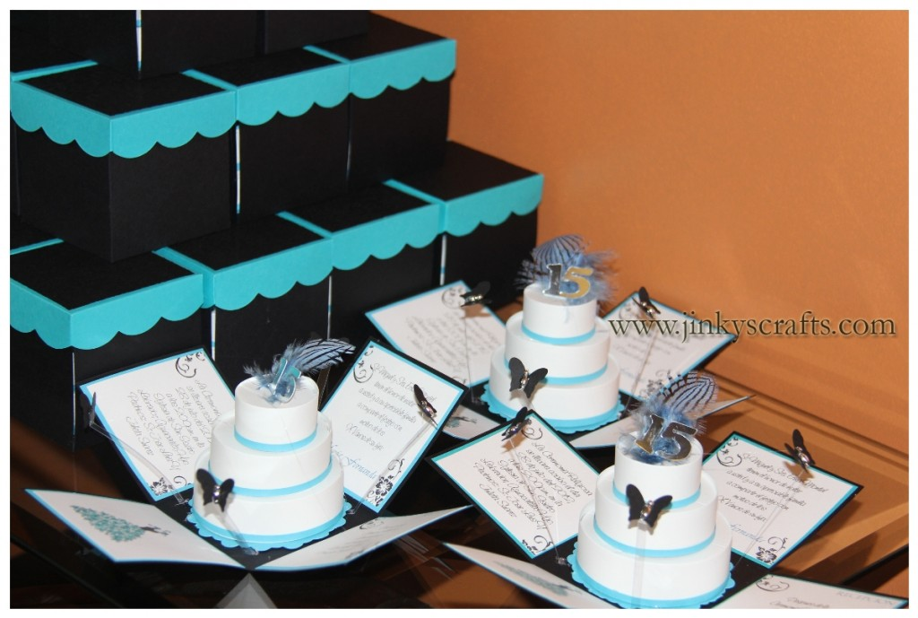 BLACK, TURQUOISE & WHITE POP-UP INVITATIONS