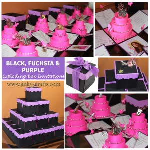 MIS QUINCE BOX INVITATION - PURPLE,BLACK & FUCHSIA