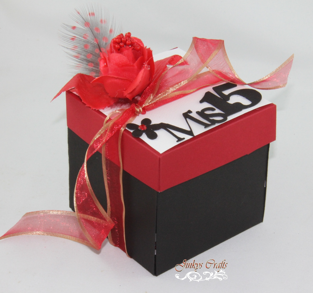 Red & Black Quinceanera Exploding Box Invitation