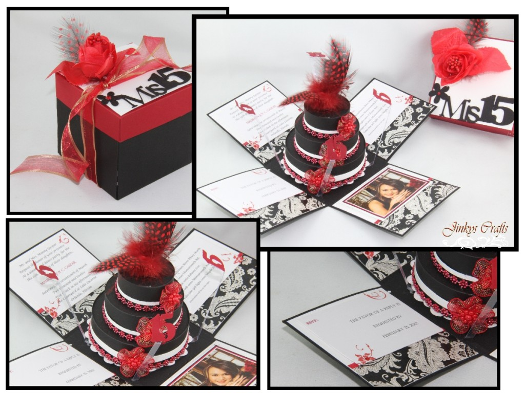 15 Anos Flats: Red & Black Mis Quince Exploding Box Invitation