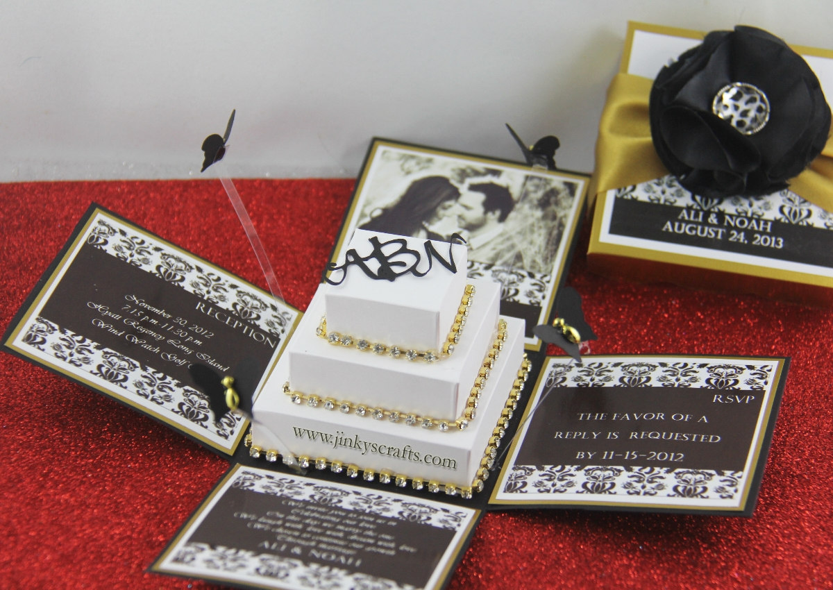 black  gold damask exploding box wedding invitation, Wedding invitations