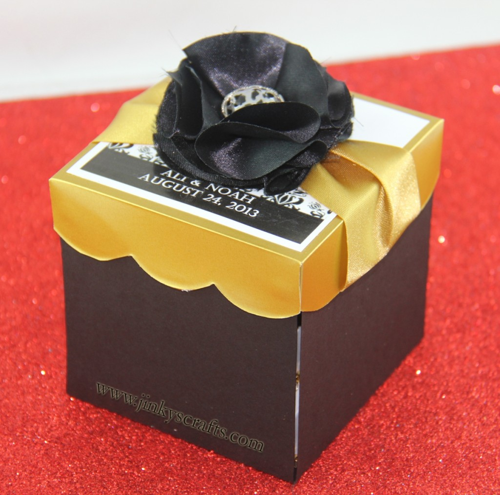 BLACK DAMASK & GOLD MAGIC BOXWEDDING INVITATION