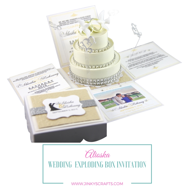Alioska Exploding Box Wedding Invitation With 3-Tier Cake