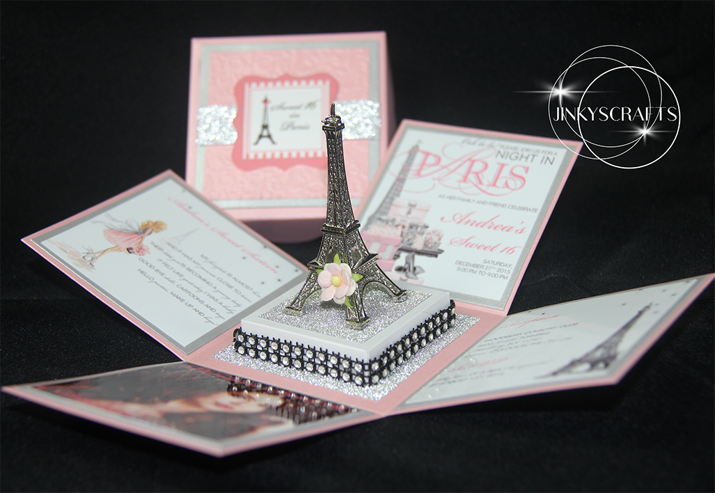 Paris themed invitations with eiffel tower jinkys crafts for Themed bridal shower invitations