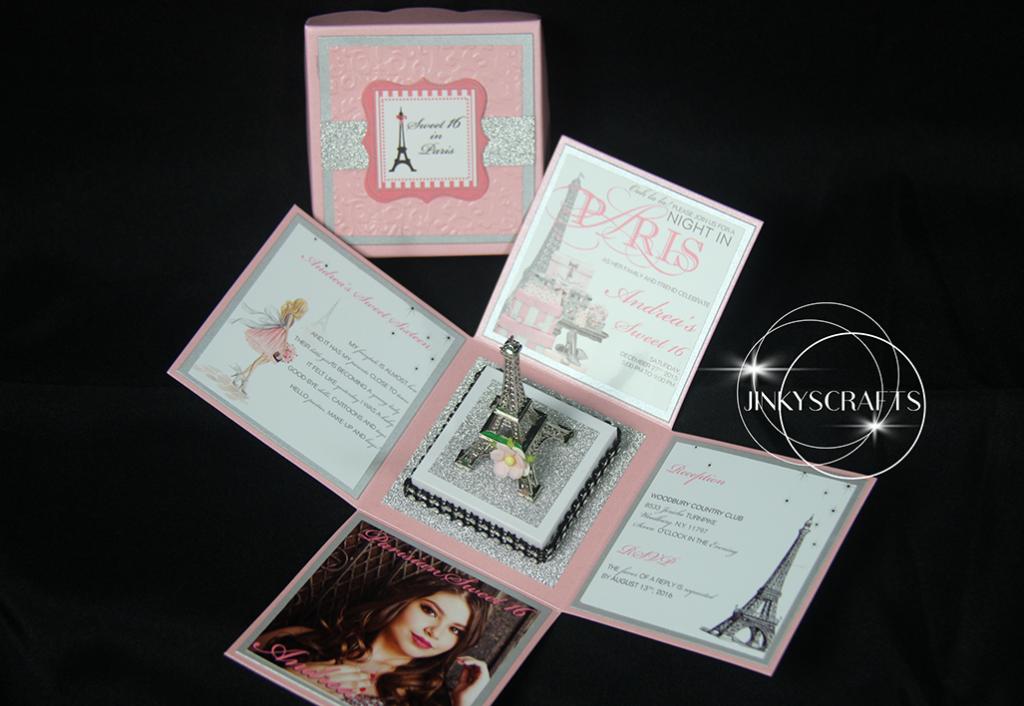 Paris themed invitations with eiffel tower jinkys crafts - Salon des seniors paris invitation ...