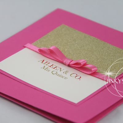 Elegant Pocketfold Invitation with dior bow ribbon.