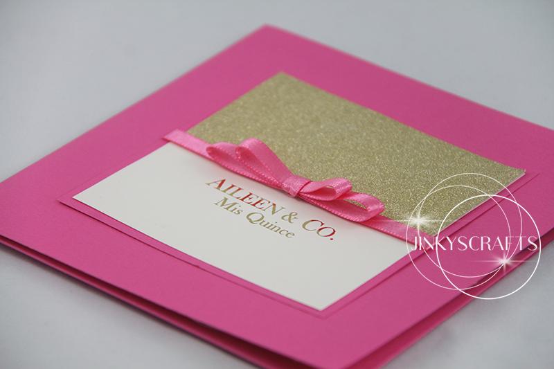 Elegant Pink Square Pocketfold Invitation - Jinkys Crafts