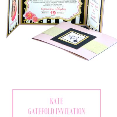 Custom Quinceanera Gatefold -Trifold Invitation