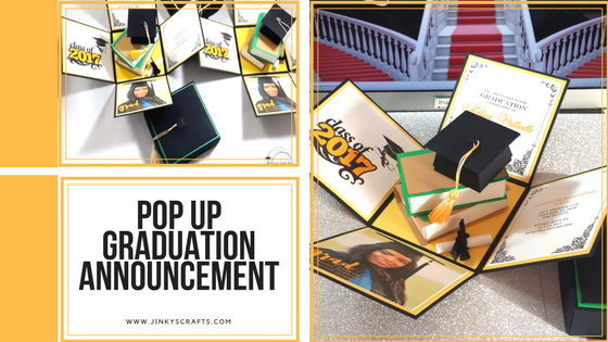 Graduation Announcement Exploding Box w/ 3D Books